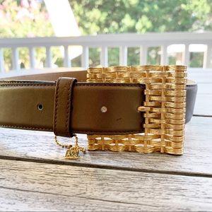 ANNE KLEIN Gold Woven Buckle Leather Belt